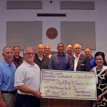 HANCOCK COUNTY COMMUNITY DEVELOPMENT FOUNDATION PRESENTS MAJOR DONATION TO CITY OF BAY ST. LOUIS FOR 7TH STREET PARK IMPROVEMENTS